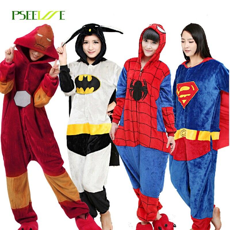 Kigurumi Flannel Adults Pajamas Pyjama Super Hero Adult Winter Iron Superman Spiderman Batman  Cosplay Onesies For Women Men