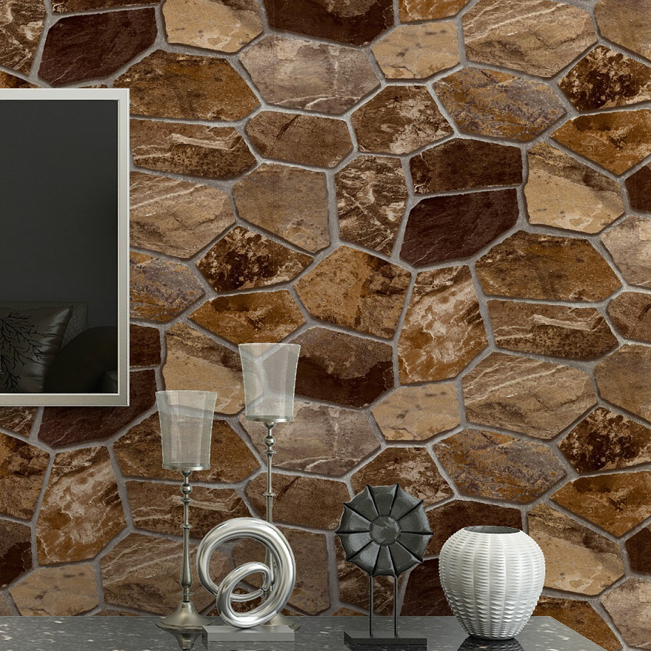 Thick Vinyl Vintage Rustic 3D Textured effect Stacked Stone Wallpaper Roll Retro Rock Wall Paper Waterproof & Washable 10M red vintage brick wallpaper 3d textured wall paper thick waterproof vinyl wall coverings