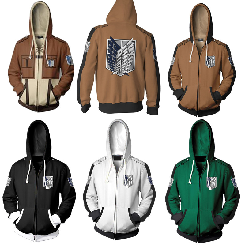 New Anime Attack On Titan hoodie jacket Shingeki no Kyojin Legion Eren cosplay costume Sweatshirts Zipper Hoodies Plus size 5XL
