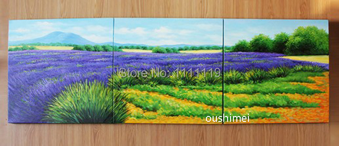 Fait à la main belle peinture à l'huile pourpre lavande paysage à la main calligraphie mur Art photos peintures modernes toile décor - 2