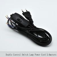 2*0.75mm2 3.6 M Enchufe de Europa Lámpara de Cable de Alimentación con Interruptor de Control de Doble Interruptor de La Lámpara de Alambre VDE Certificado 308 interruptor de Cable Eléctrico