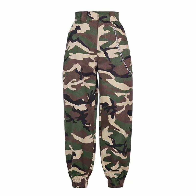 High Waist Pants Loose Joggers Women Harm Camo Pants Streetwear Cargo Pants Capris Trousers