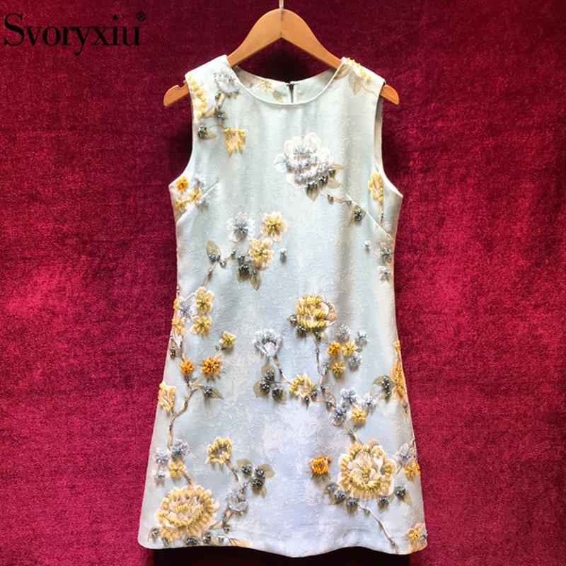 Svoryxiu Designer Custom Made Autumn Party Dress Women s luxury Beading Floral Print Jacquard Sleeveless Short
