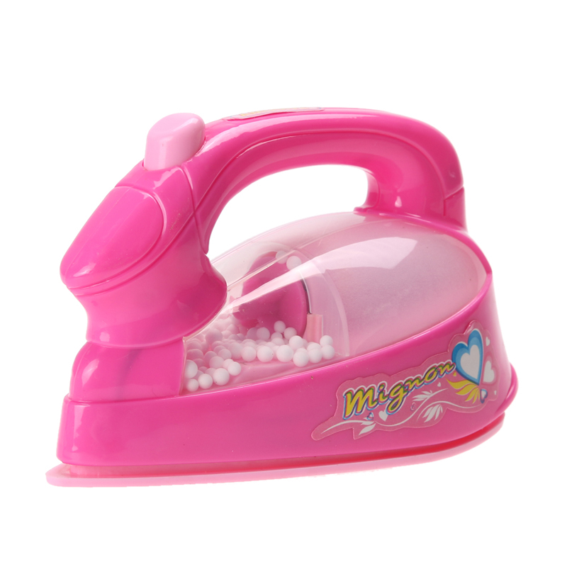Pink Mini Simulated Electric Iron Kids Pretend Role Play Toy Fun LED Light-up Girls Play House Toy Electric Iron Appliance