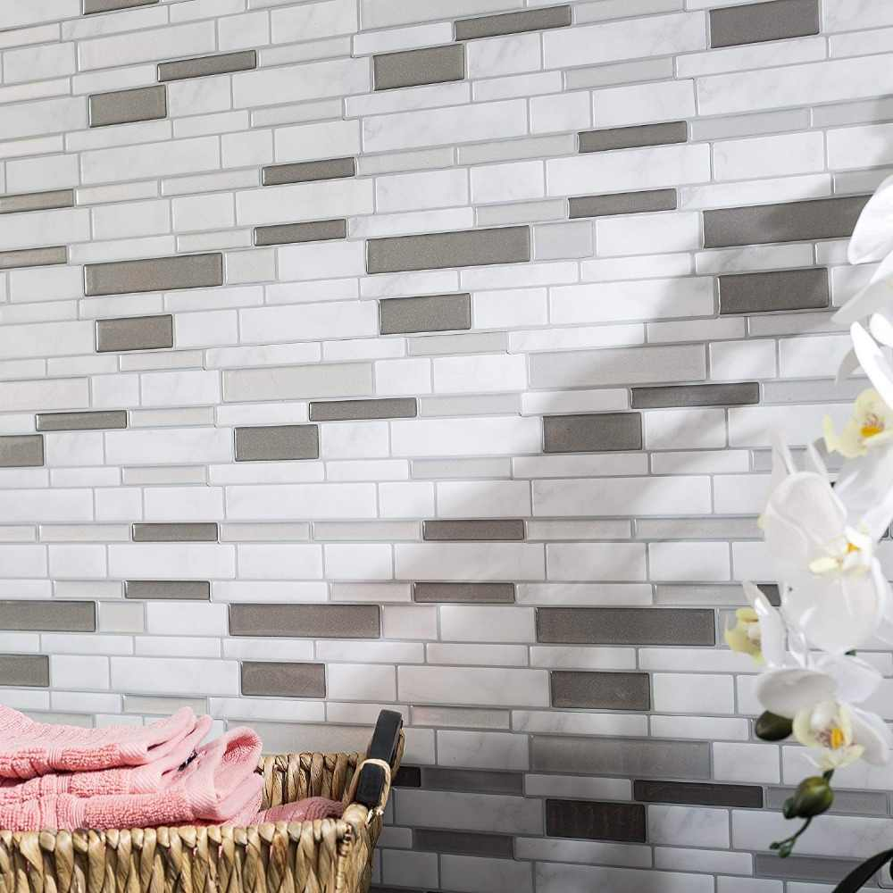 - White Gray Marble Mosaic Shell And Stick Self Adhesive Wall Tile