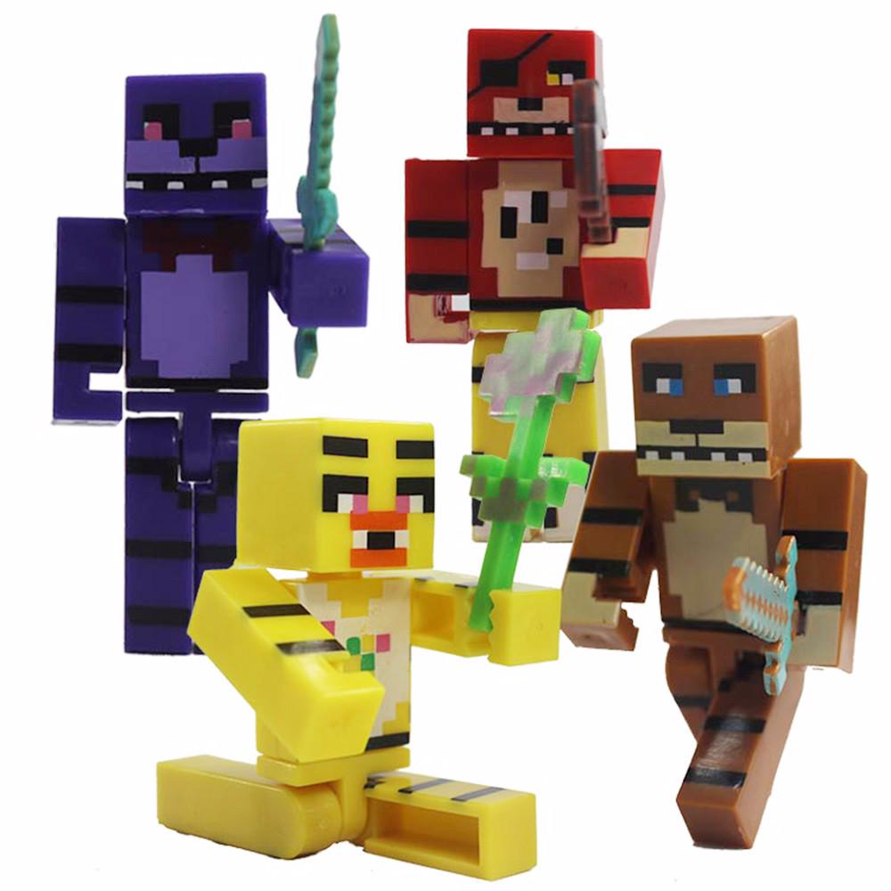 US $1 0 20% OFF|4pcs/set Minecraft FNAF Five Nights At Freddy's Figure Toy  Foxy Chica Bonnie Freddy Action Figures with Sword Kid Toy Kids Gift-in