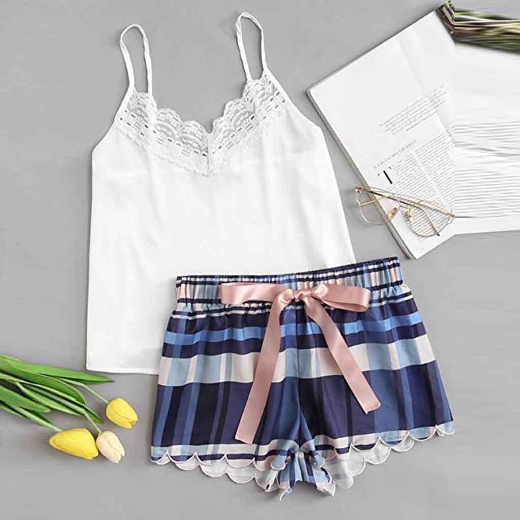 2019 Fashion Girls Cute Lace Sleeveless Strap Lattice Print Underwear And Shorts   Pajama     Set   Sexy Lingerie Intimate Ladies #VC127
