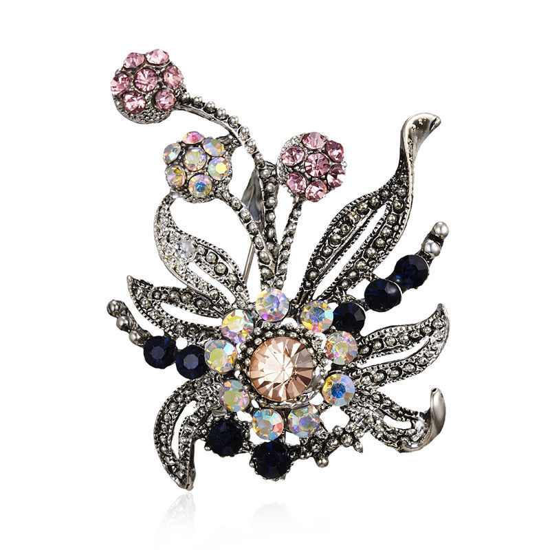 De Colección Mujeres Broche Pin Cristal Perla Plantas Flor Broche Traje Joyería Regalo