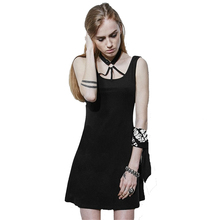 Punk Women's Sexy Halter Dress Lolita Sleeveless Backless Causal Mini Dress Gothic Summer Party Dresses