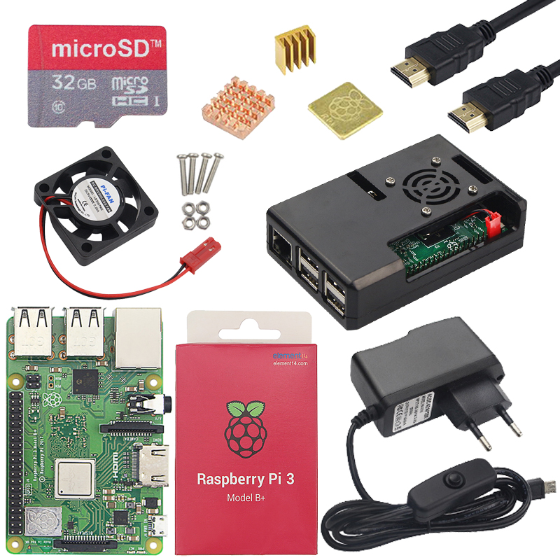 Raspberry Pi 3 Model B Or Raspberry Pi 3 Model B Plus Board + ABS Case + Power Supply Mini PC Pi 3B/3B+ With WiFi&Bluetooth