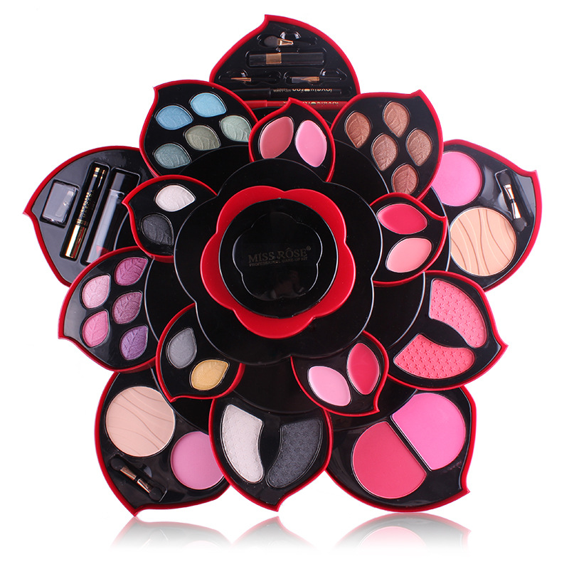 MISS ROSE felower Eye Shadow Plate big size Plum Blossom Rotating set Eye Shadow Box Cosmetic Case Makeup Palette Makeup Tools miss rose plate of the piano box eye shadow makeup of dumb light of pearl tray blush powdery cake grooming powder cosmetics box