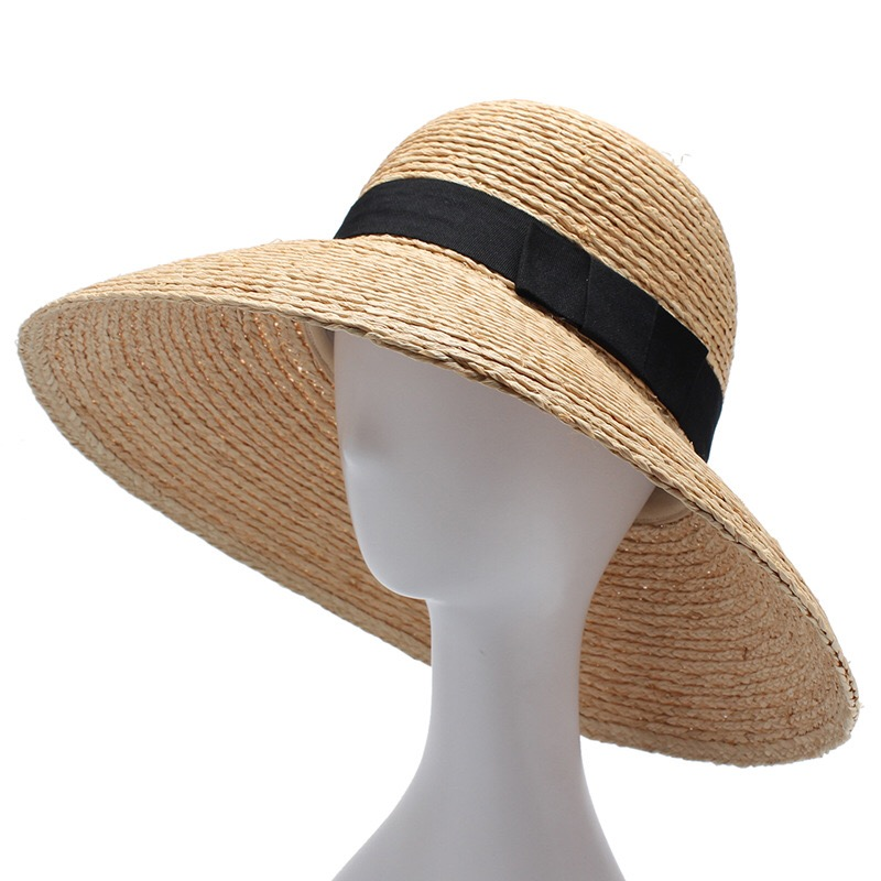 Image 5 - 2018 New Raffia Women Straw Summer Sun Hats For Ladies Beach Hat Fashion Handmade Large Wide Brim Bucket Visor Caps Gift-in Women's Sun Hats from Apparel Accessories