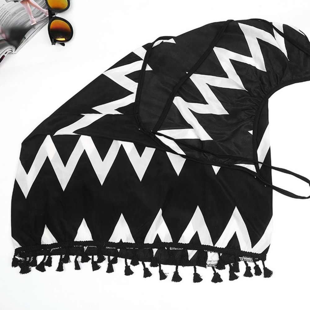 S-XL جديد شاطئ التستر بيكيني أسود أبيض متموج شرابة التعادل بحر ملابس السباحة الصيف التستر مثير انظر من خلال الشاطئ