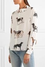 2017SW st ** ** еу mcc 100% шелк дамы с длинным рукавом животных собаки печати блузки женщины рубашка весна осень