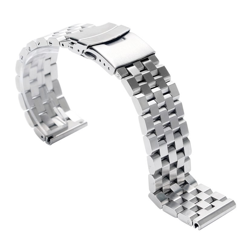 Men Push Button Silver Folding Clasp with Safety Stainless Steel Cool HQ Solid Link Watch Band Strap Bracelet Replacement 22mm silver replacement folding clasp with safety shark mesh men watch band strap stainless steel 2 spring bars high quality