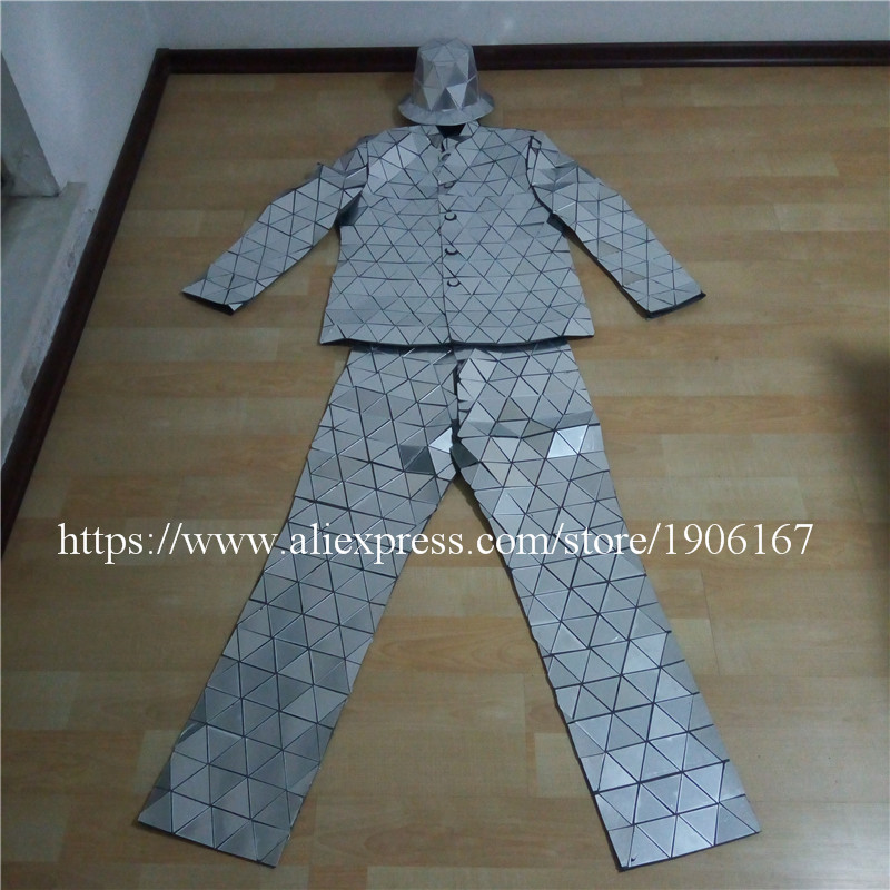 Catwalk Shows Men Silver Color Stage Ballrooom Costume Mirror Man Clothing Party Christmas Performance DJ Singer Clothes Suit10