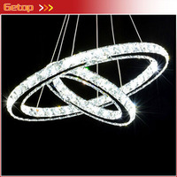 Double Rings LED K9 Crystal Chandelier Modern Creative Dual Rings Crystal Lamp Living Room Study Bedroom