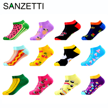 SANZETTI 12 Pairs/Lot Women Summer Casual Colorful Ankle Socks Happy Combed Cotton Short Novelty Pattern Boat Gifts