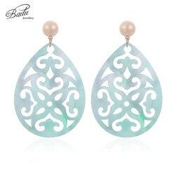 Badu Oval Acrylic Earrings for Women Bohemian Green Carved Acetic Acid Pendant Dangle Drop Earrings Party Jewelry