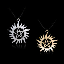 Movie Supernatural necklaces & pendant Super Natural Sun silver leather chain metal Necklace Accessories(China)