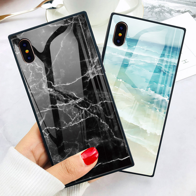 302a7aba2a9ce9 ... TOMKAS Black Luxury Marble Phone Case for iPhone 6 6s X Xs Glass Back  Cover Case ...