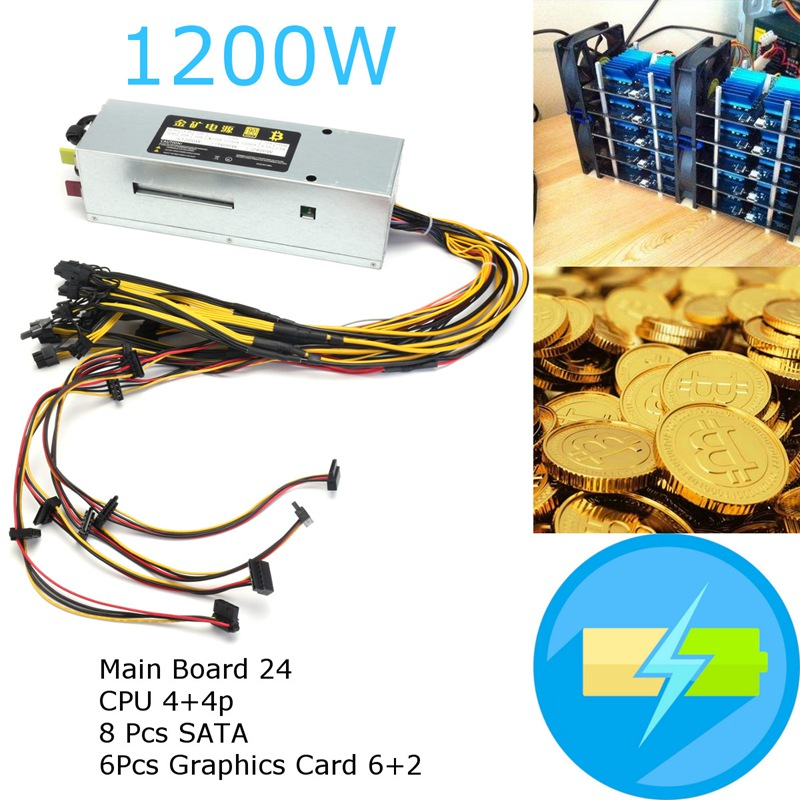 1pc 1200W Power Supply Miners Aluminum +6Pcs Graphics Card 6+2 + 8 Pcs SATA CPU New computer Power Supply For BTC vg 86m06 006 gpu for acer aspire 6530g notebook pc graphics card ati hd3650 video card