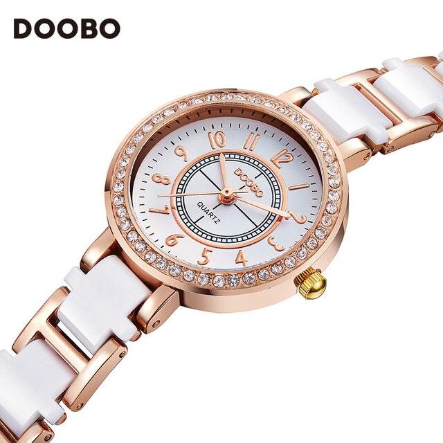 eed8f6172b5 Relógio de Senhora Da forma Das Mulheres Elegante Rosa de Ouro Pulseira de  Strass Relógio de