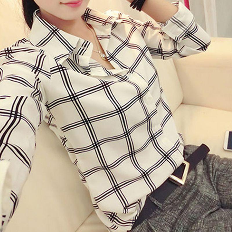 Women's Long Sleeve White Shirts Plaids Pattern Lapel Casual Blouse Tops
