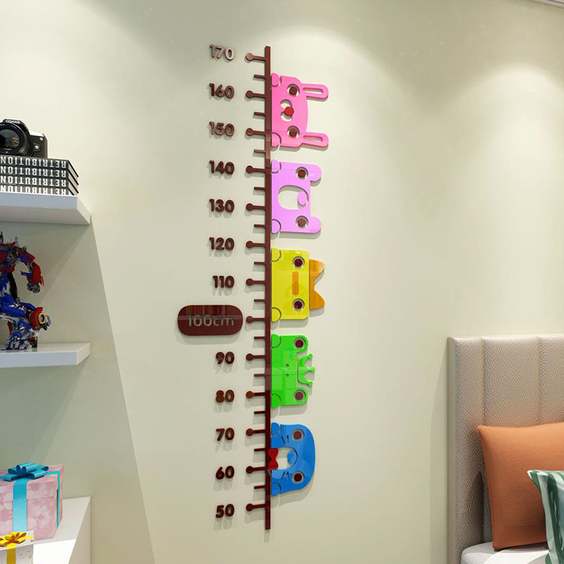 DIY Color frog Acrylic Height Stickers Cartoon Baby Measure Height Wall Sticker 3d Stereo Children's Room Wall Art Decor Ruler