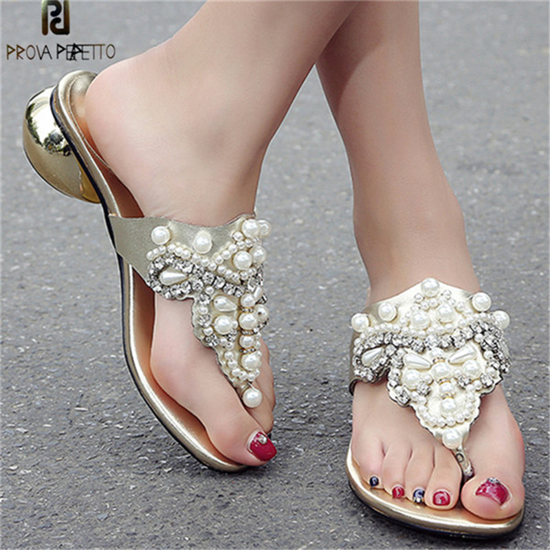 Prova Perfetto Bohemia Style Women Sandals String Bead Rhinestone Flip Flop Slippers Women Real Leather Round High Heel Slippers prova perfetto fashion new low heel flip flop shoes popular style mixed color genuine leather cozy women outside summer sandals