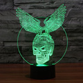 Novelty 3D Acrylic Night Light Skull and Eagle Shape LED Table Lampara Colorful Gradient Illusion Lighting for Kids Bed Lamp