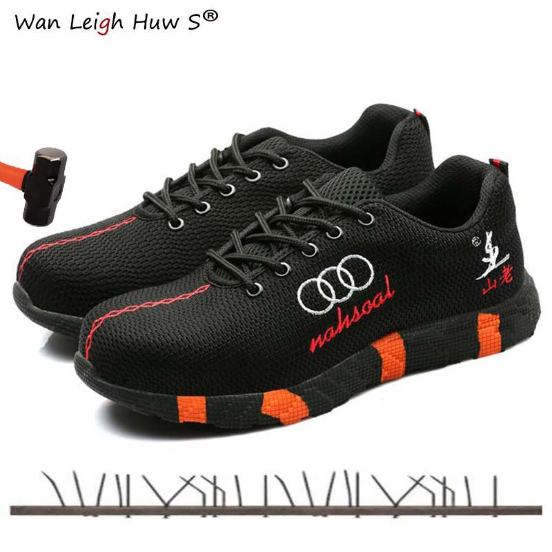 Steel Toe Safety Shoes Men Women Breathable Mesh Industrial & Construction Puncture Proof Work Boots Shoes Protective Footwear