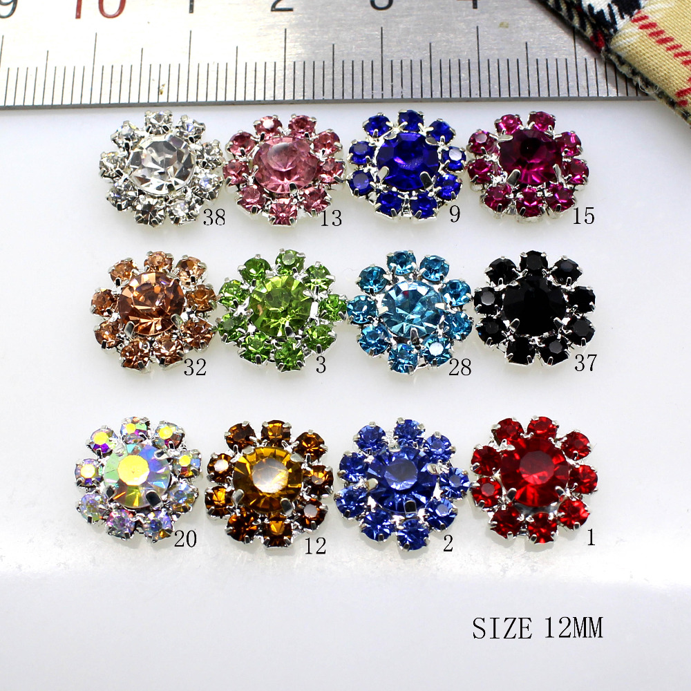 New Hot 10Pcs 12mm Round Diy Jewelry Accessories Snowflake Rhinestones Sewing Festival Caps Decoration For Creative Making