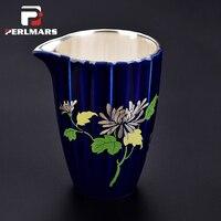 230 мл Керамика серебро ярмарка чашка кунг фу Чай комплект Чай церемонии ручной росписью цветочный узор Chahai кружка серебряные Чай ware Drinkware по