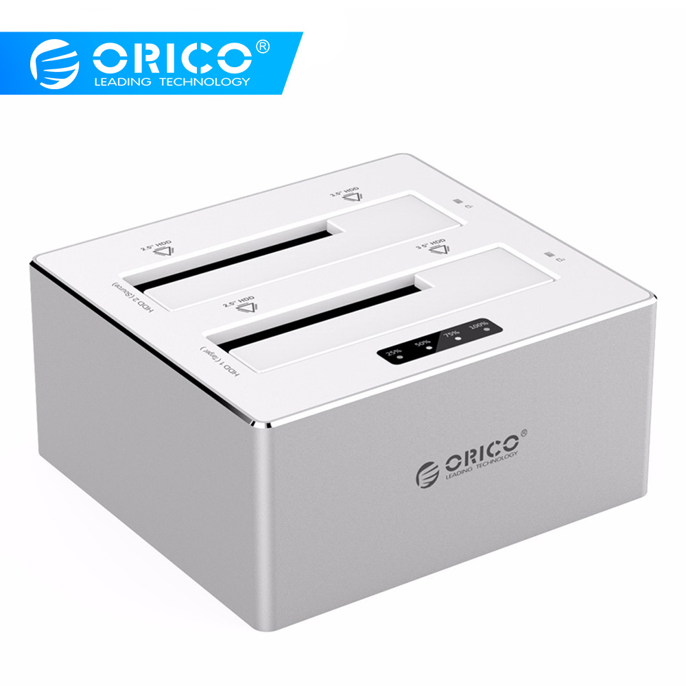 ORICO 6828US3-C-V1 Aluminum 2 Bay SATA 3.0 to USB 3.0 Hard Drive Docking Station/Duplicator for 2.5&3.5 HDD-Silver