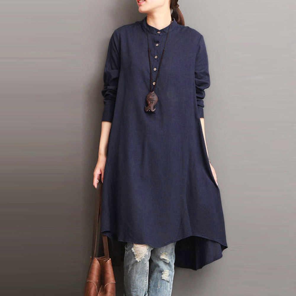 Femmes à manches longues Blouse coton lin O cou bouton solide bureau dame chemise décontracté lâche Bluses Vintage femme Blusas grande taille