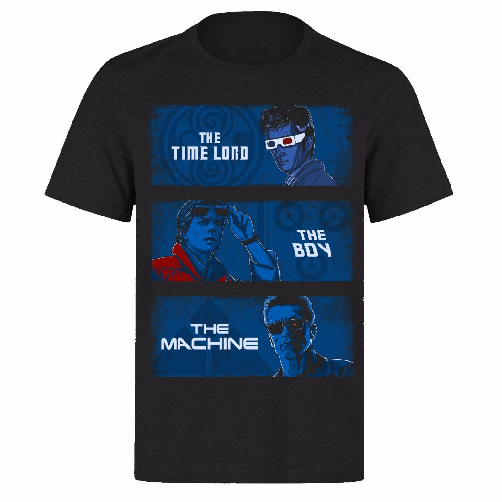 TIME TRAVELERS THE TIME LORD THE BOY THE MACHINE UNISEX BLACK PH52 T-SHIRT T-Shirt Male Hipster Tops