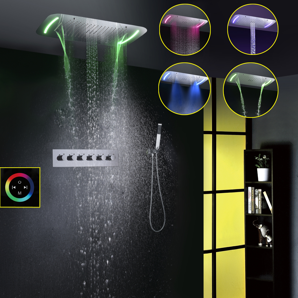 Contemporary Style 71X43 CM Large Touch Panel LED Shower Head Spray Bubble Waterfall Rainfall Bathroom Shower Faucet Set