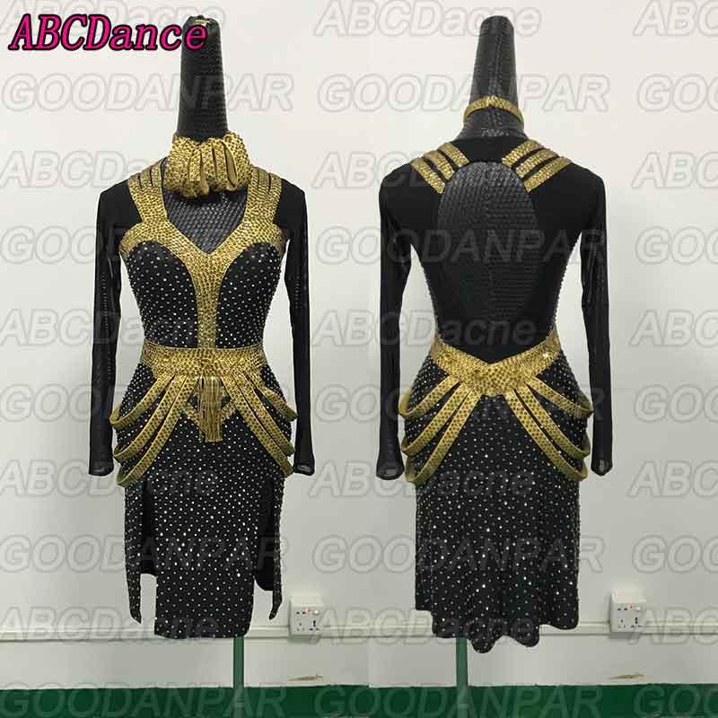 Latin Dance Competition Dress Dress Black Mesh Long Sleeve Latin Ballroom Dance Dress Rumba Foxtrot Dance Dresses For Women