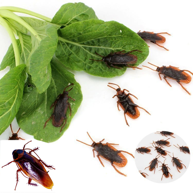 50pcs/lot Prank Funny Trick Joke Toys Special Lifelike Model Simulation Fake Rubber Cockroach Cock Roach Bug Roaches Toy