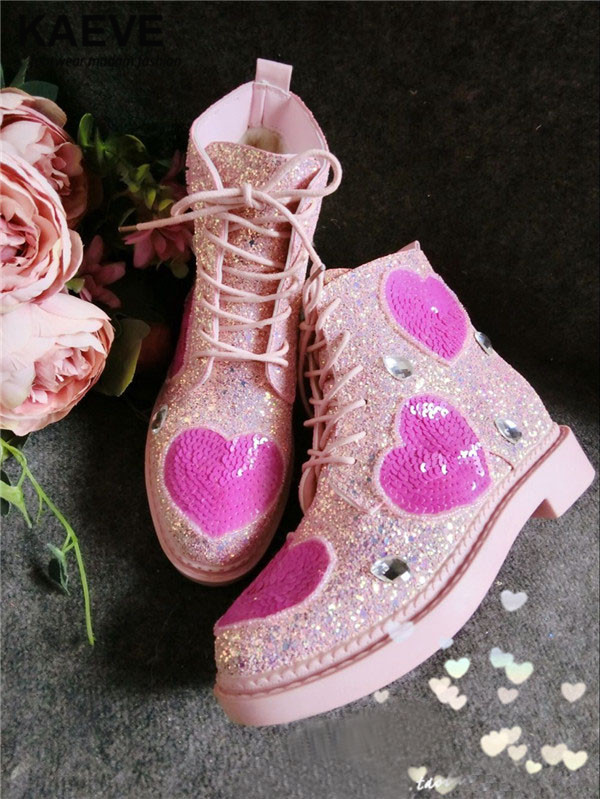 2017 Embellished Sweety Girl Love Pink Peach Women Martin Boots Short Shoe Ankle Lace-Up Crystal Sequins Flat Round Toe Shoe