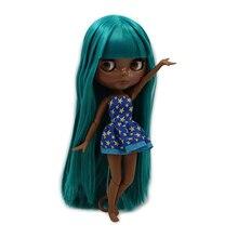 ICY 공장 blyth 인형 슈퍼 검은 피부 톤 어두운 피부 녹색 스트레이트 머리 공동 바디 bjd 1/6 30cm 장난감