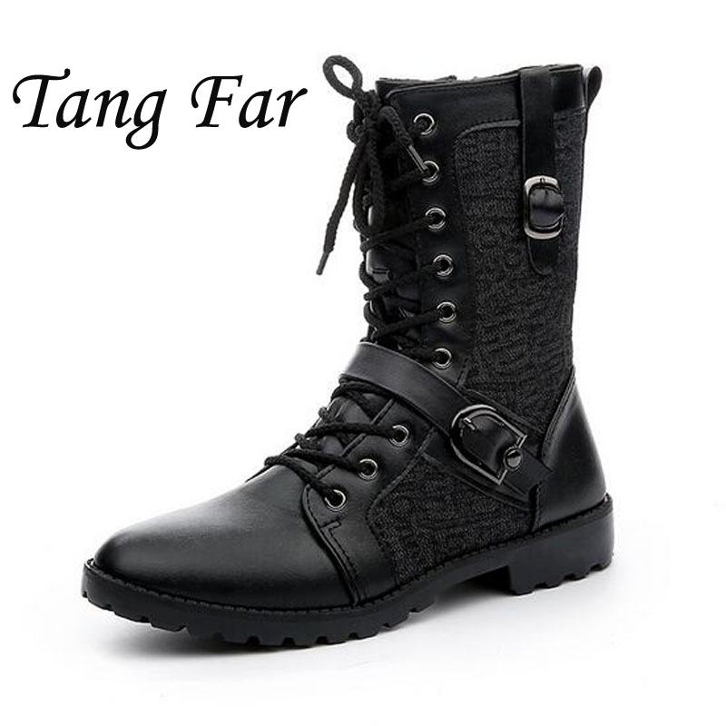 New Handmade Men PU Leather Autumn Winter Boots High Quality Tooling Boots Man Botas Hombre