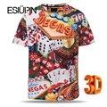 ESIUPIN 3d Футболка Европа Америка Свободные Модный Бренд Футболки Мужчин Летом вершины Тройники Рубашки Печати Покер с Кубиком Вегас футболка Мужская Y24