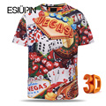 ESIUPIN 3d Tshirt Europe America Loose Fashion Brand T-shirt Men Summer Tops Tees Shirts Print Dice Poker Vegas T shirt Men Y24