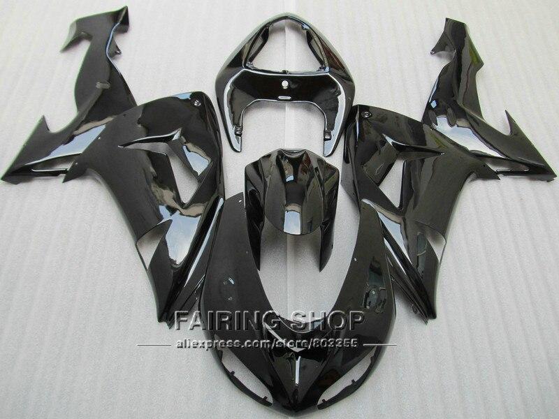 Motocicleta negro brillante carenados para Kawasaki Ninja ZX10R 2006 2007 06 07 100% fit Kit de carenado EMS envío x50