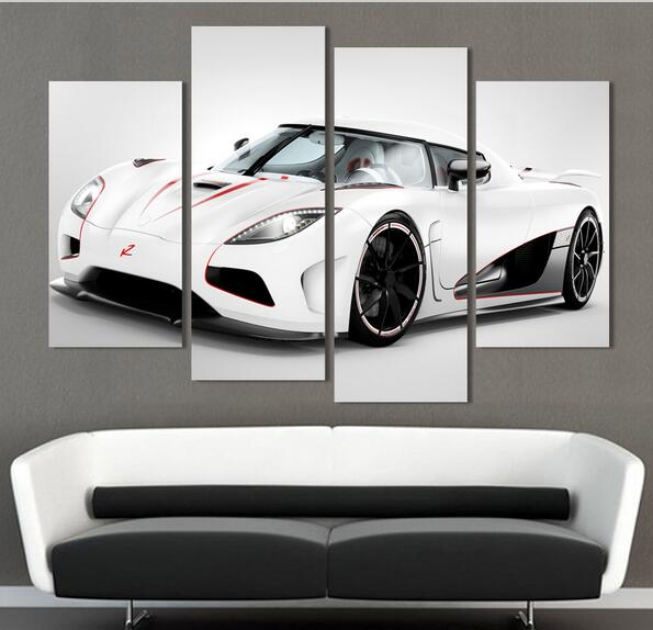 4 pcs white sports car wall art painting home decoration living room canvas print painting on