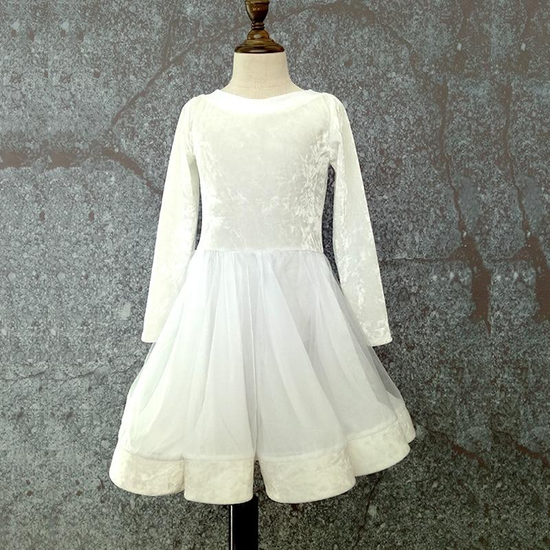 Latin Dance Dress Girls White Long Sleeve Diamond Velvet Ballroom Dancing Dresses For Kids Tango Clothes Performance Wear DN1219