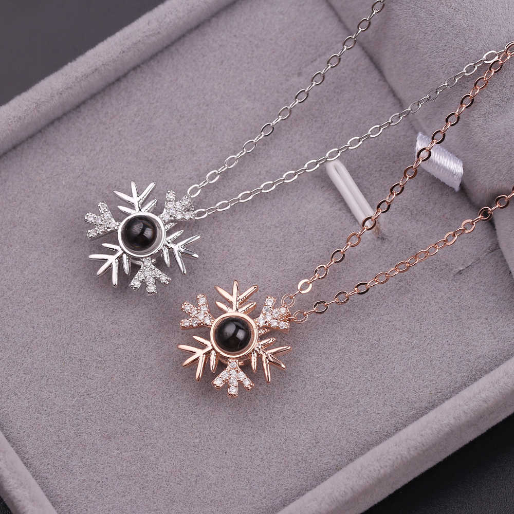 2018 Snowflake Rose Gold Silver 100 Language I love You Necklace Memory Projection Pendant Wedding Letter Necklace Drop Shipping
