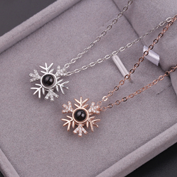 2018 Snowflake 100 Language I love You Necklace Memory Projection Pendant Wedding Letter Necklace Drop Shipping